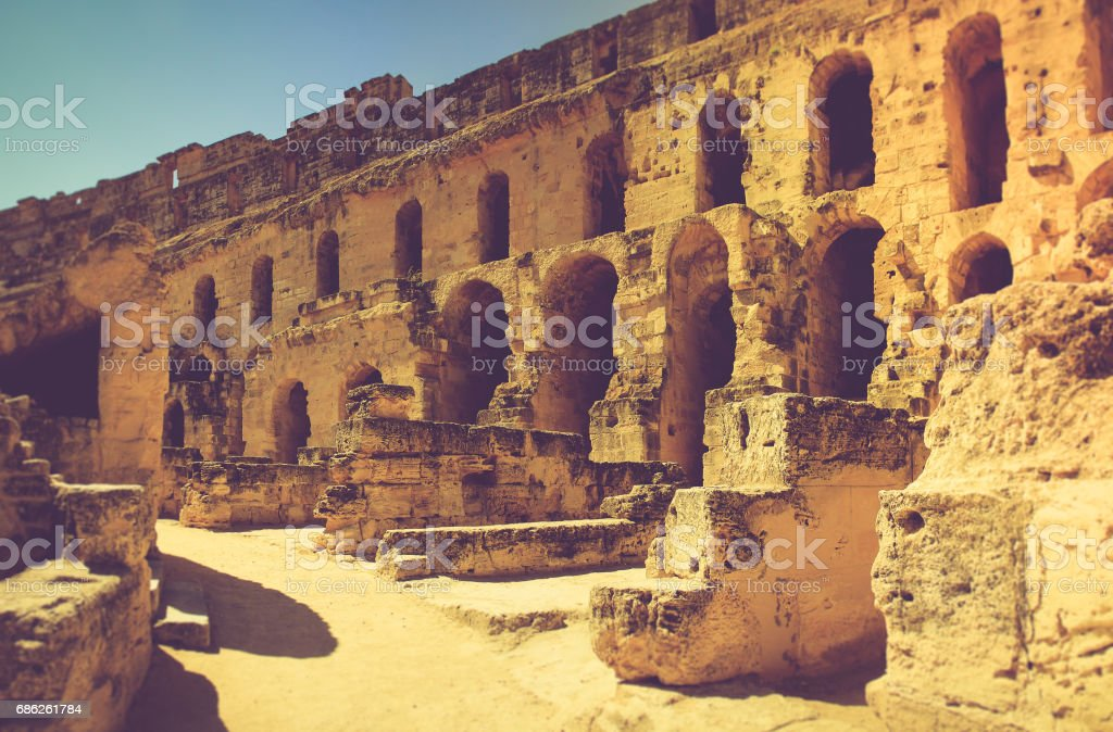 Panoramic view of Coliseum in El Djem.Tunisia in Africa. stock photo