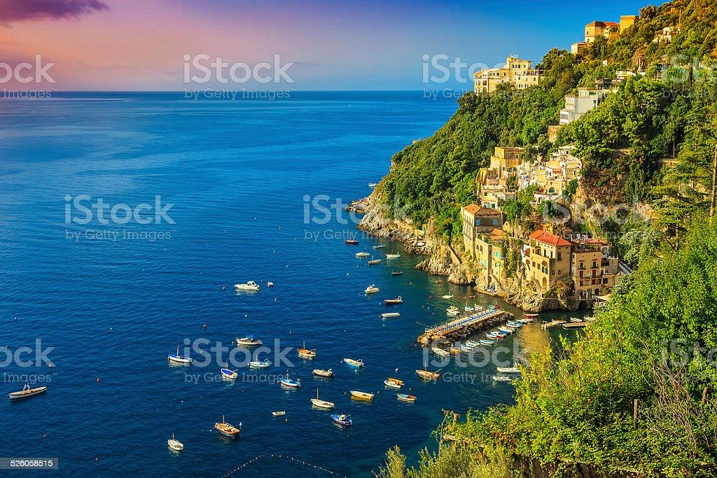 Panoramic view of Conca dei Marini,Amalfi coast,Italy,Europe stock photo