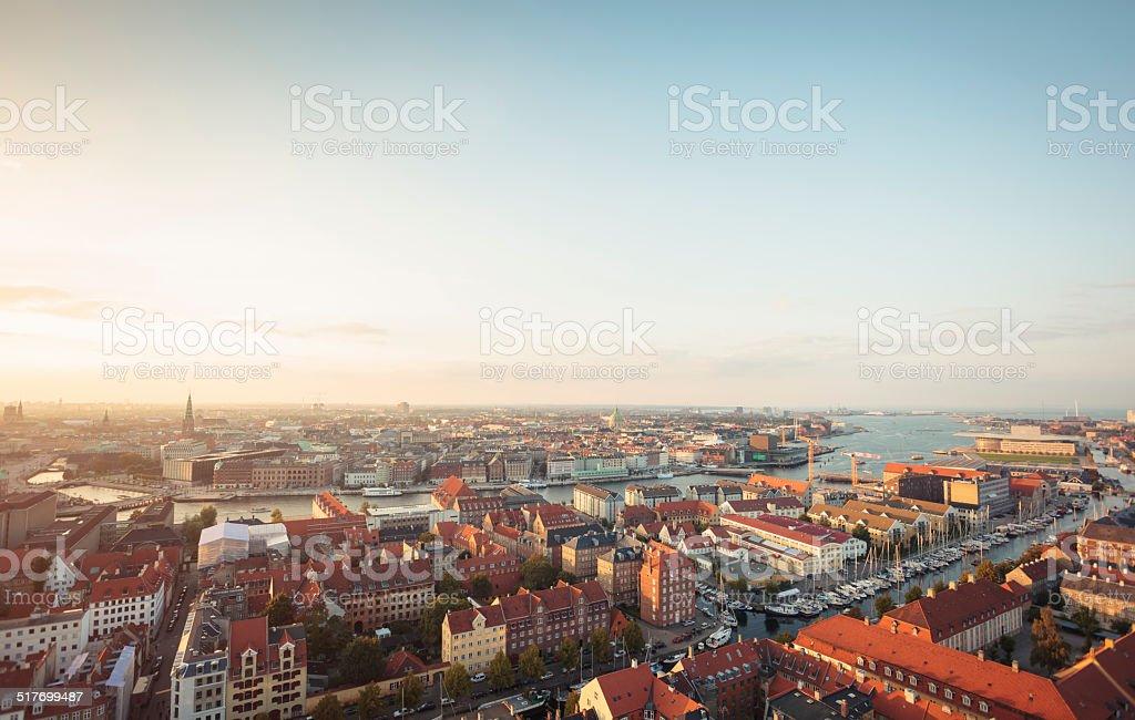 Panoramic view of Copenhagen, Denmark stock photo