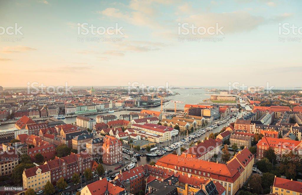 Panoramic view of Copenhagen, Denmark. stock photo