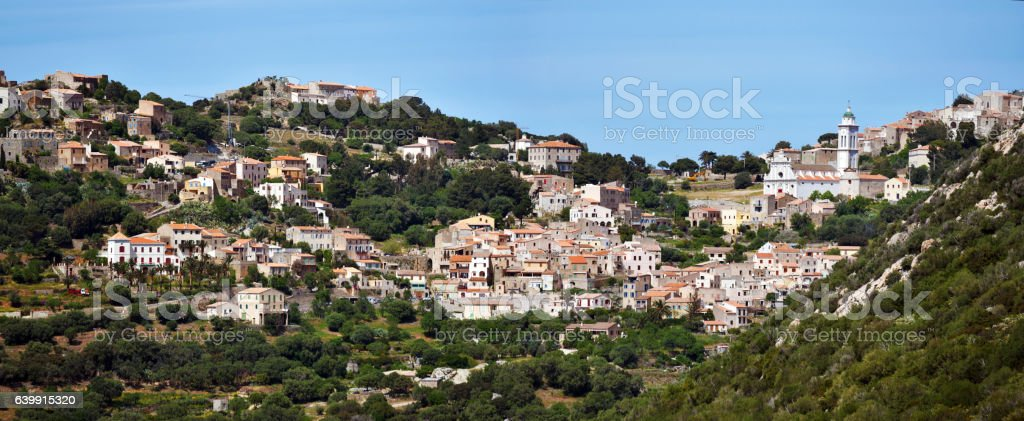 Panoramic view of Corbara Village in Corsica Island stock photo