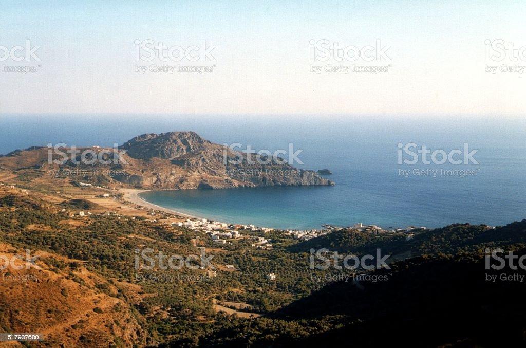 Panoramic view of Crete south coastline, Greece stock photo