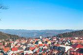 Panoramic view of Croatian town Delnice, Gorski Kotar