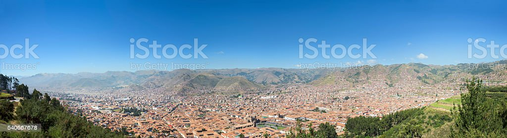 Panoramic view of Cusco City, Andes Mountains, Peru, South Ameri stock photo