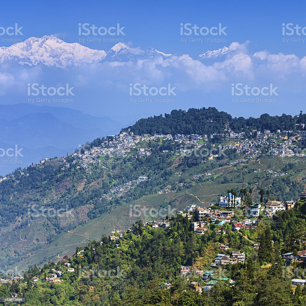 Panoramic view of Darjeeling with mount Kanchengjunga in the background stock photo
