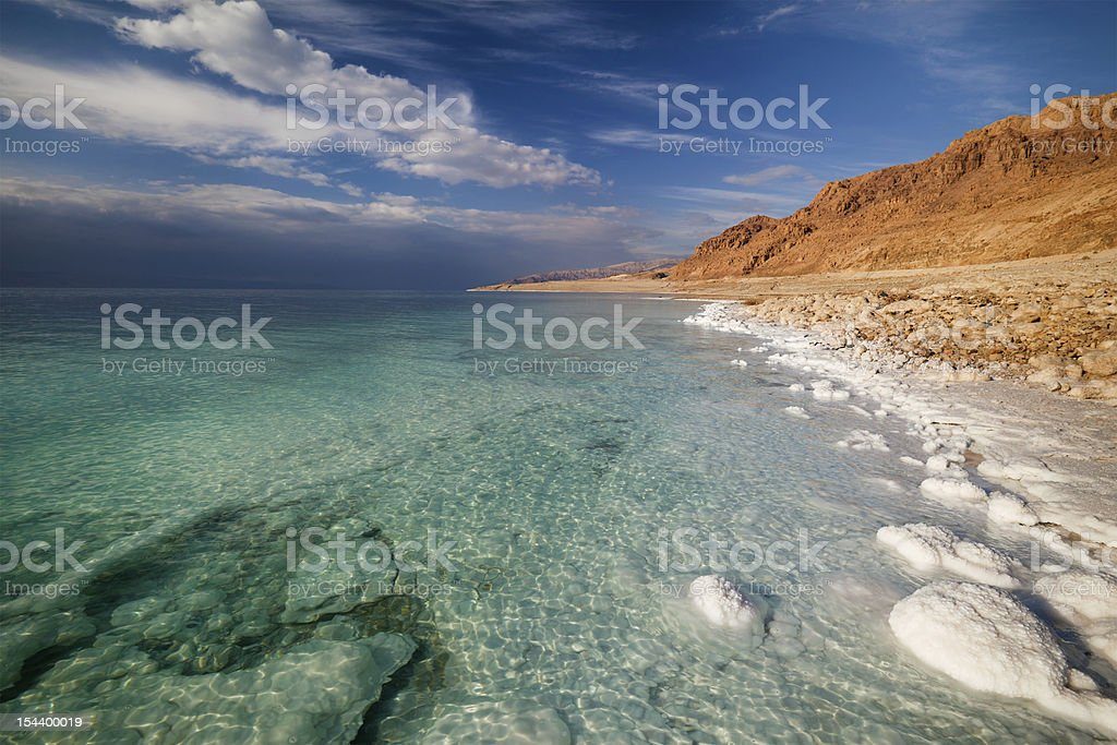 Panoramic view of Dead Sea coastline with water and shore stock photo