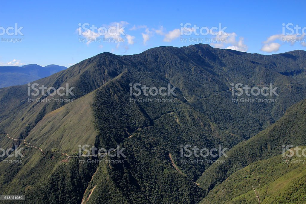 Panoramic view of death road, Bolivia stock photo