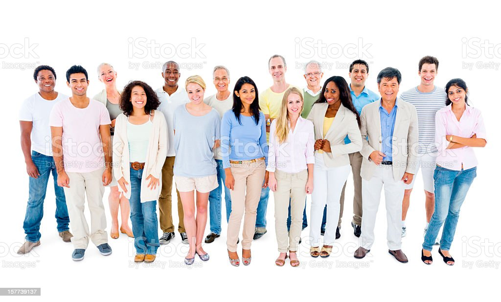 Panoramic view of diverse group of people in casual clothing royalty-free stock photo