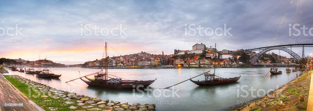 Panoramic view of Douro River in Porto, Portugal stock photo