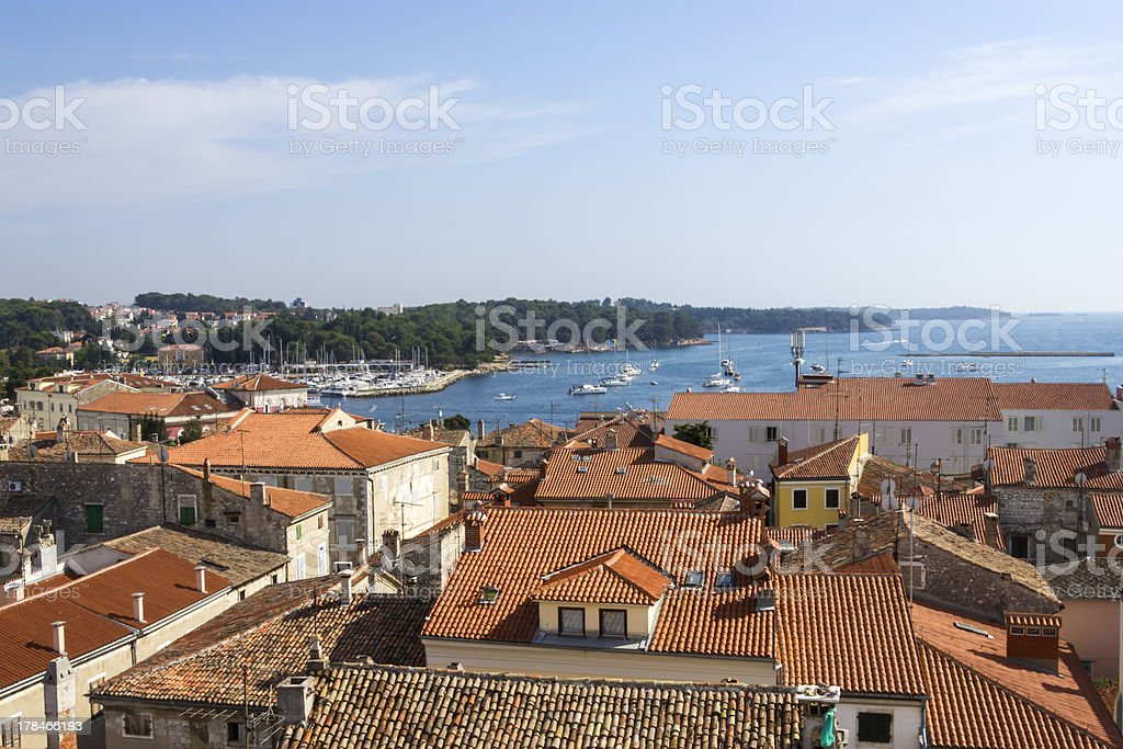 Panoramic view of down town Porec from basilica tower, Croatia stock photo