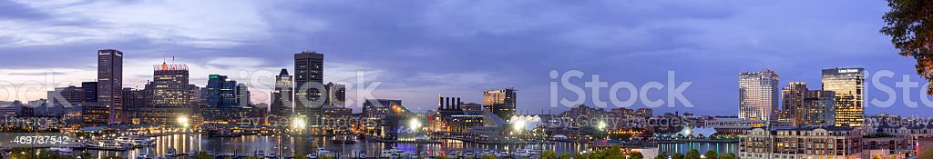 Panoramic view of downtown Baltimore and the Inner Harbor stock photo