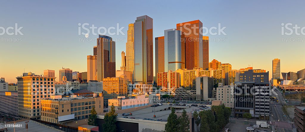 Panoramic view of downtown Los Angeles at sunrise royalty-free stock photo