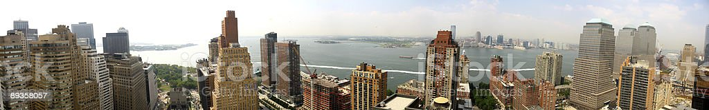 panoramic view of  downtown Manhattan (early morning) stock photo