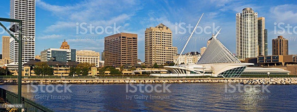 Panoramic view of downtown Milwaukee skyline stock photo