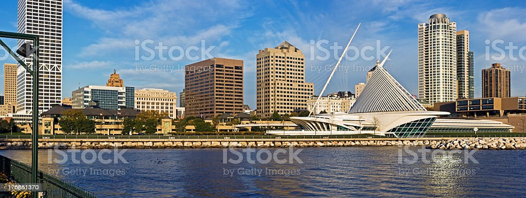 Panoramic view of downtown Milwaukee skyline stock photo