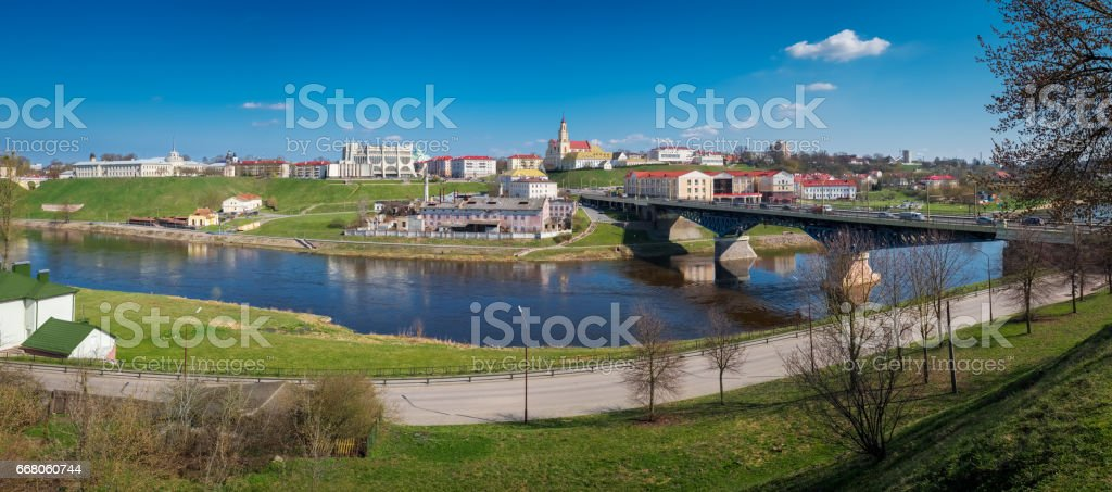 Panoramic view of downtown of Grodno and Neman river. Grodno city, Belarus. stock photo