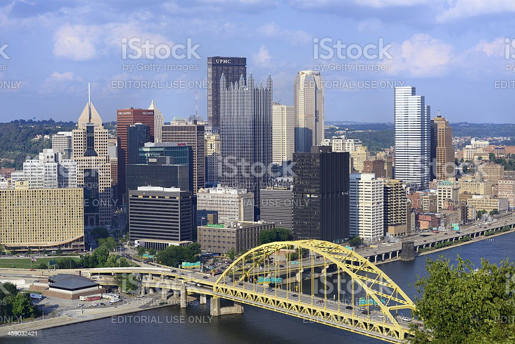 Panoramic view of downtown Pittsburg, PA stock photo