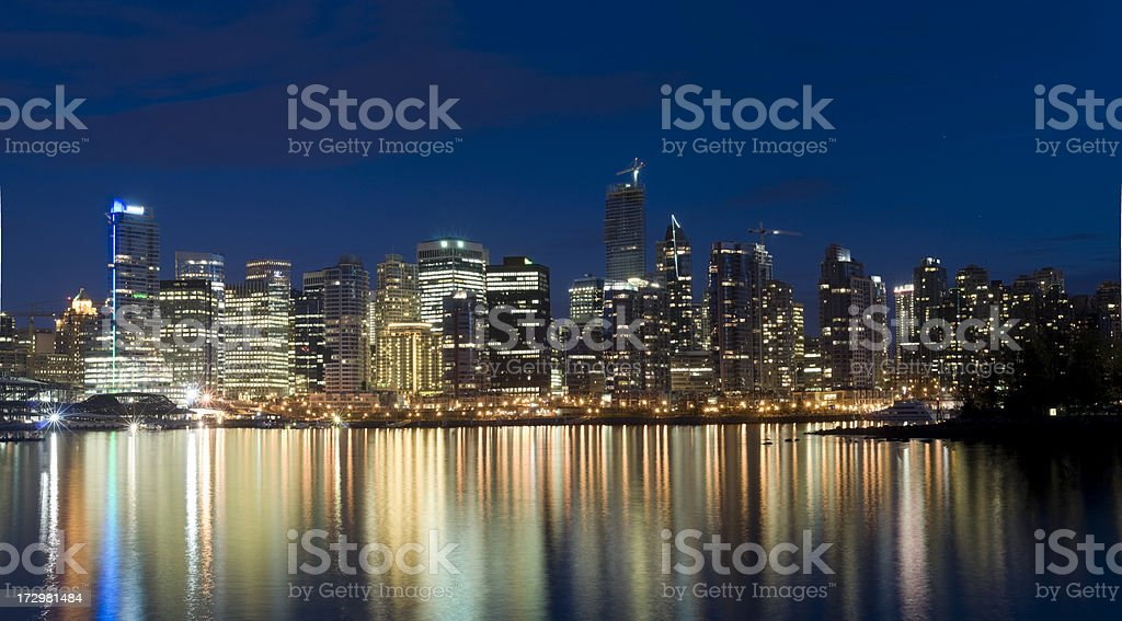 Panoramic View of Downtown Vancouver at Night royalty-free stock photo