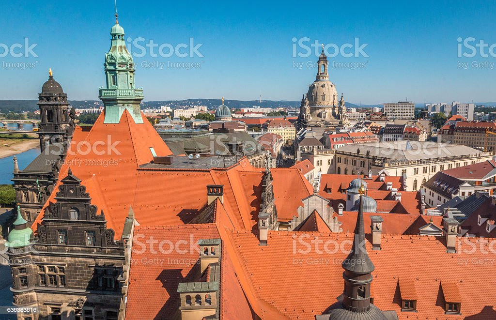 Panoramic view of Dresden Germany stock photo