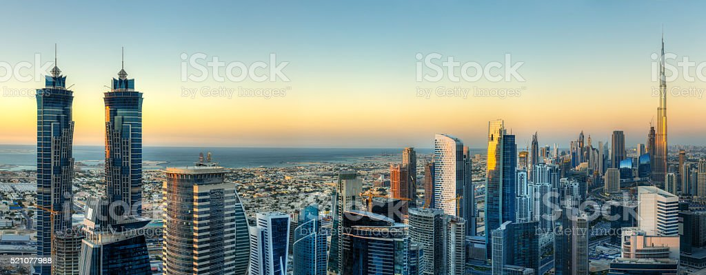Panoramic view of Dubai's business bay with modern skyscrapers. stock photo