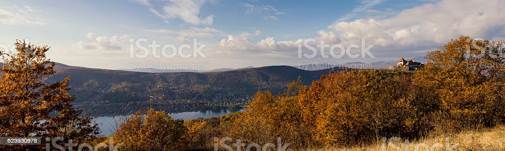 Panoramic view of Duna-Ipoly Natural Park in autumn stock photo