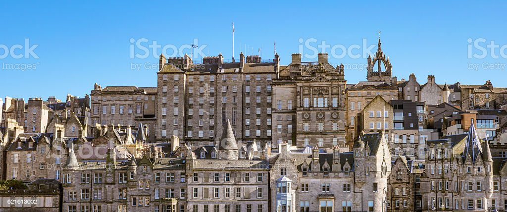Panoramic view of Edinburgh's Old Town stock photo