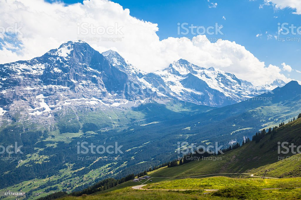 Panoramic view of Eiger, Monch and Jungfrau stock photo