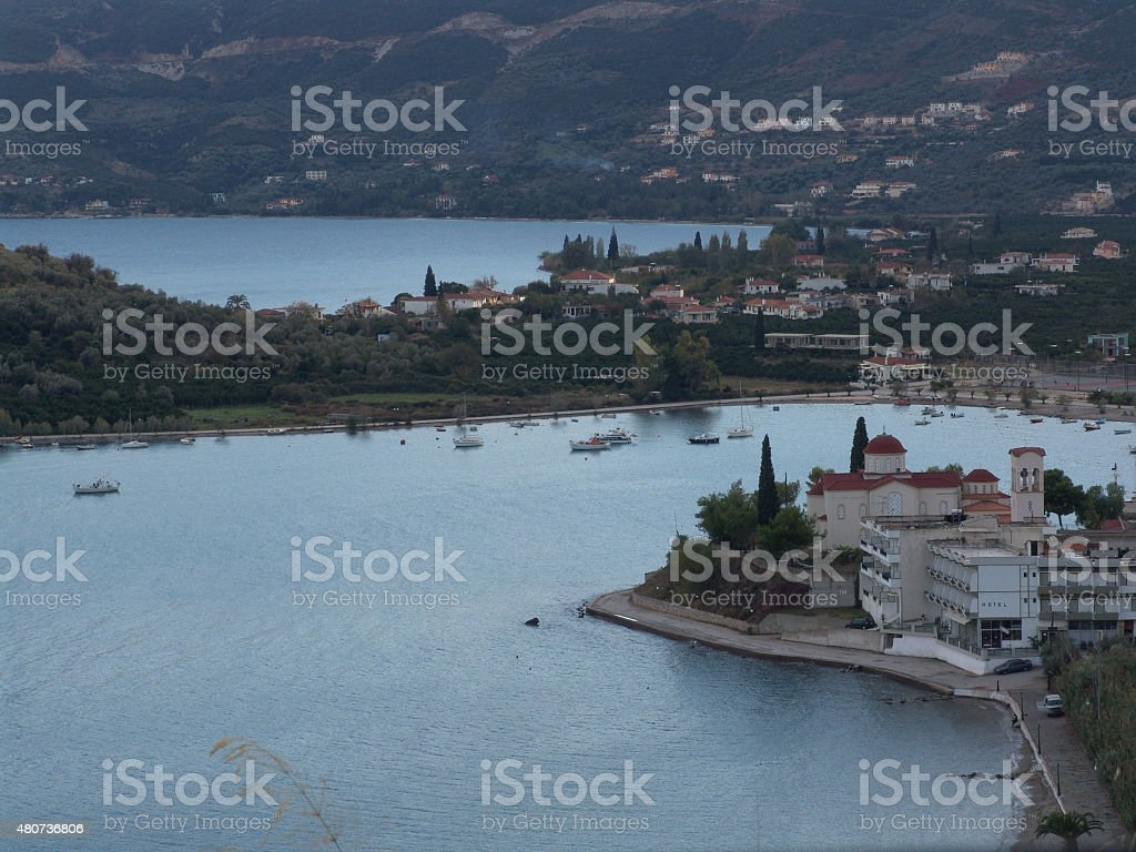 Panoramic view of Epidauros ancient city in greece stock photo