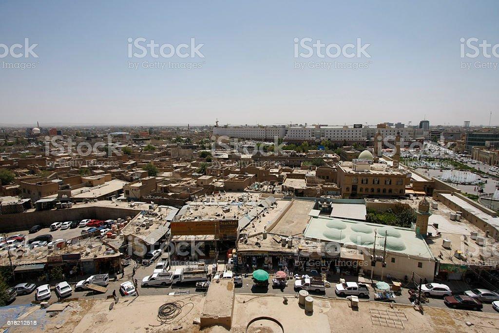 Panoramic view of Erbil, Iraq stock photo