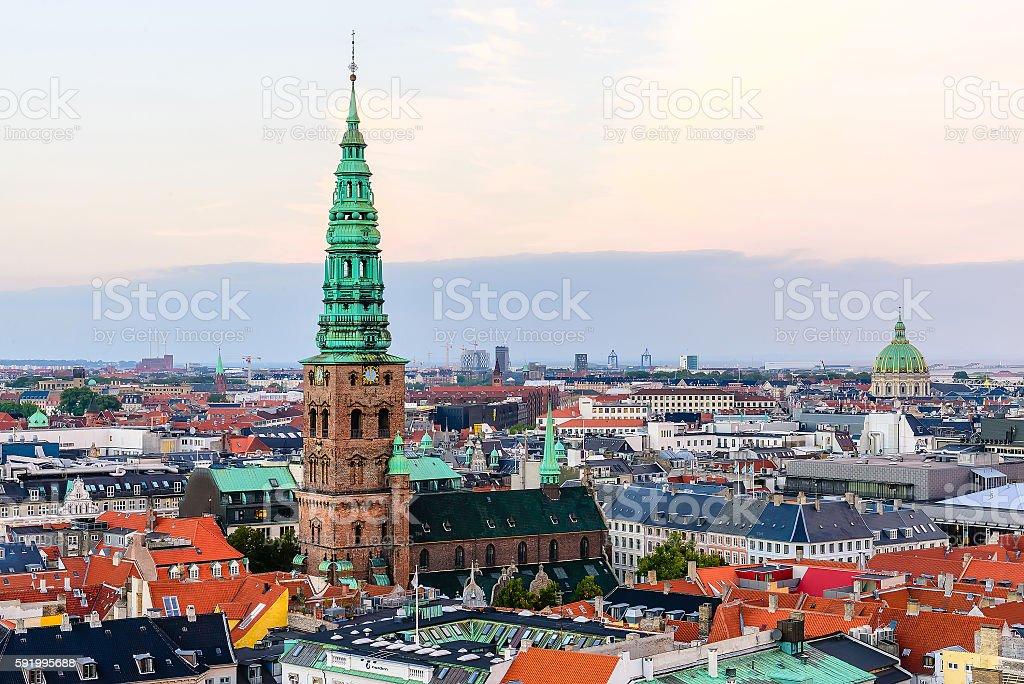 Panoramic view of evening Copenhagen roofs stock photo