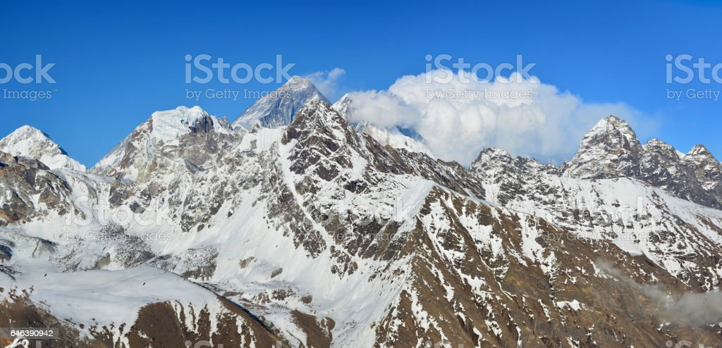 Panoramic view of Everest, Lhotse and Makalu Mountains from the summit Gokyo Ri, Sagarmatha national park, Nepal stock photo