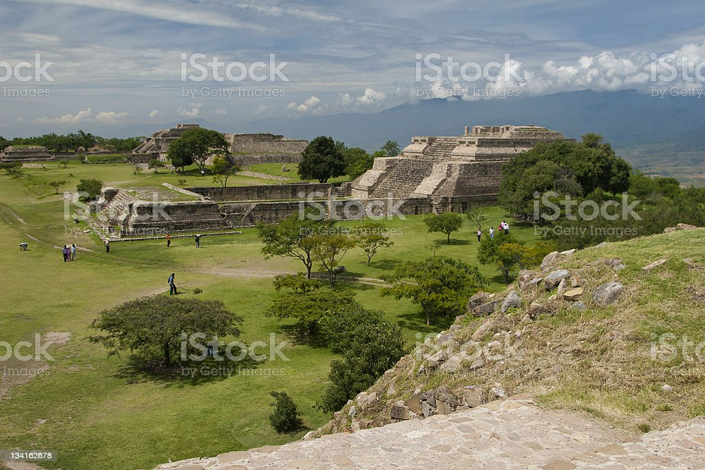 Panoramic view of famous ancient Monte Alban stock photo