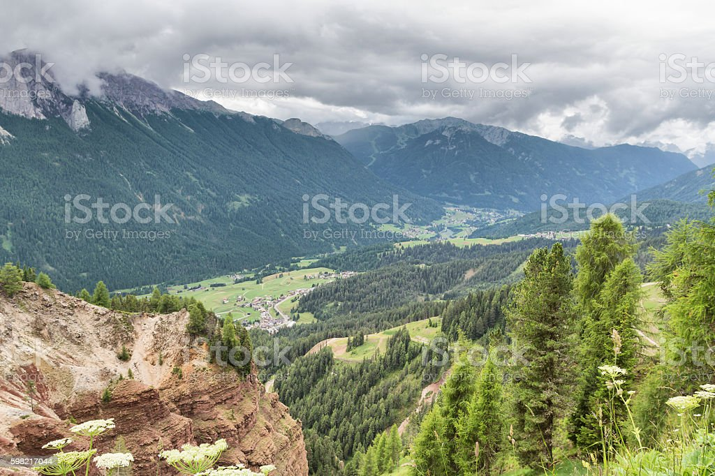 Panoramic view of Fassa Valley from Ciampedie - Dolomites Italy stock photo