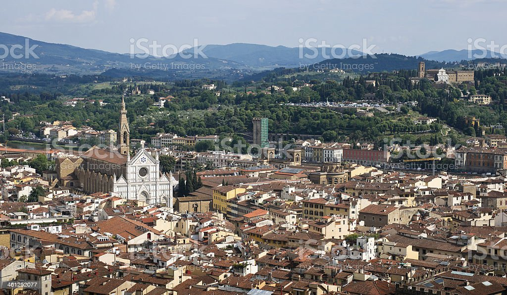 Panoramic View of Florence from Duomo Brunelleschi's Dome stock photo
