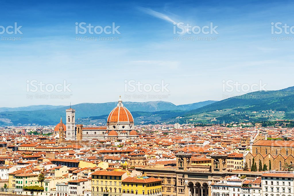 Panoramic view of  Florence, Italy stock photo