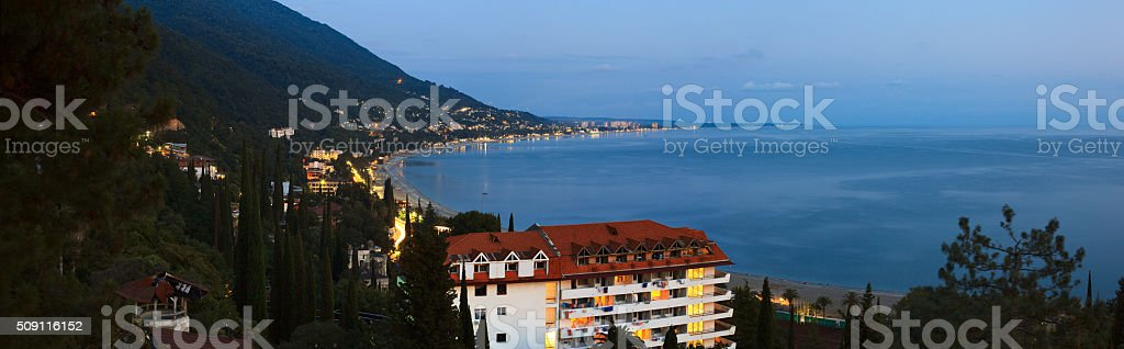 Panoramic view of Gagra, Abkhazia stock photo