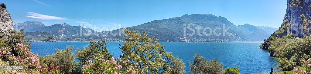 Panoramic view of Garda Lake - North side stock photo
