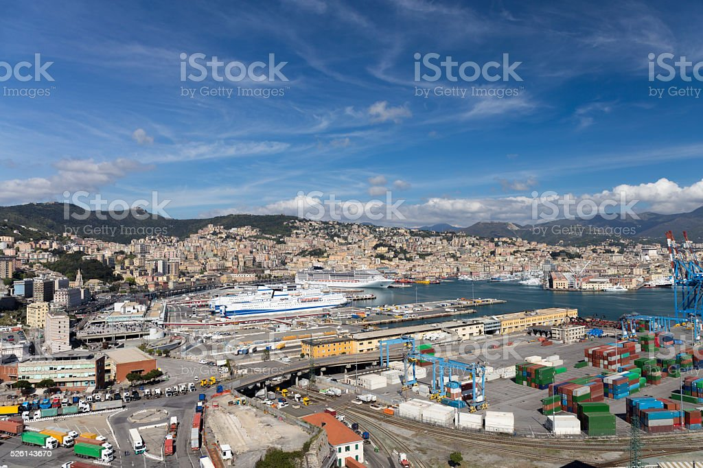 Panoramic view of Genoa from the 'Lanterna' lighthouse stock photo