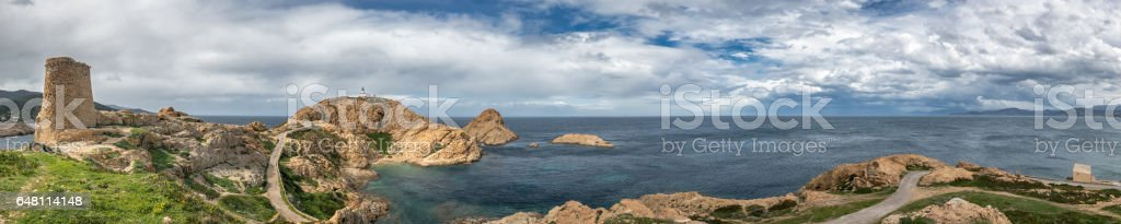 Panoramic view of Genoese tower and lighthouse at Ile Rousse in Corsica stock photo