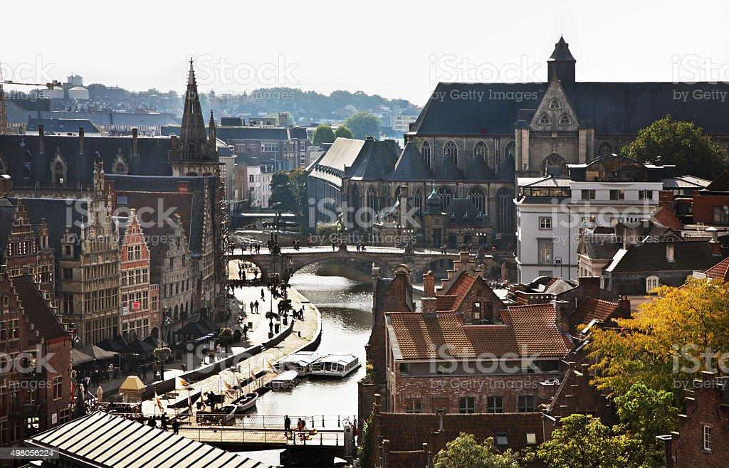 Panoramic view  of Ghent. Belgium stock photo