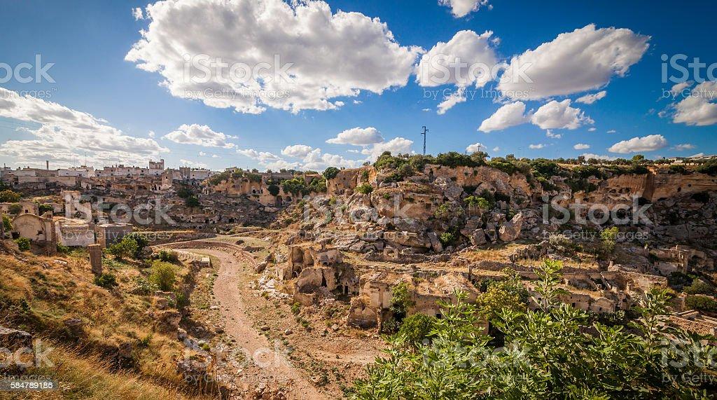 Panoramic view of Ginosa stock photo