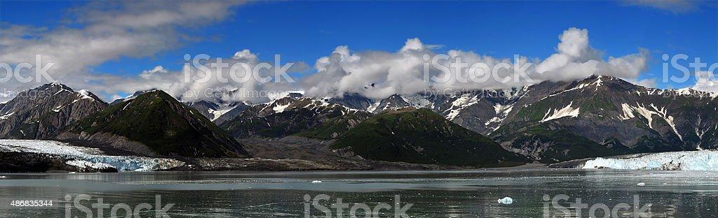 Panoramic view of Glacier in Glacier Bay National Park, Alaska, stock photo