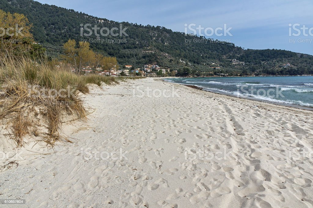 Panoramic view of Golden beach, Thassos island, Greece stock photo