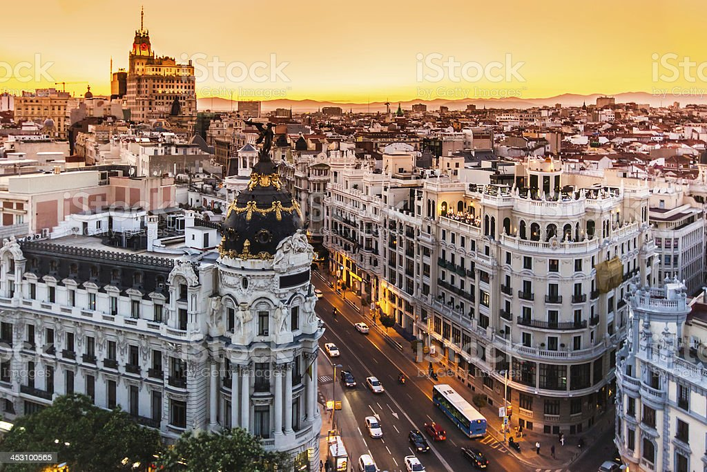 Panoramic view of Gran Via, Madrid, Spain. stock photo