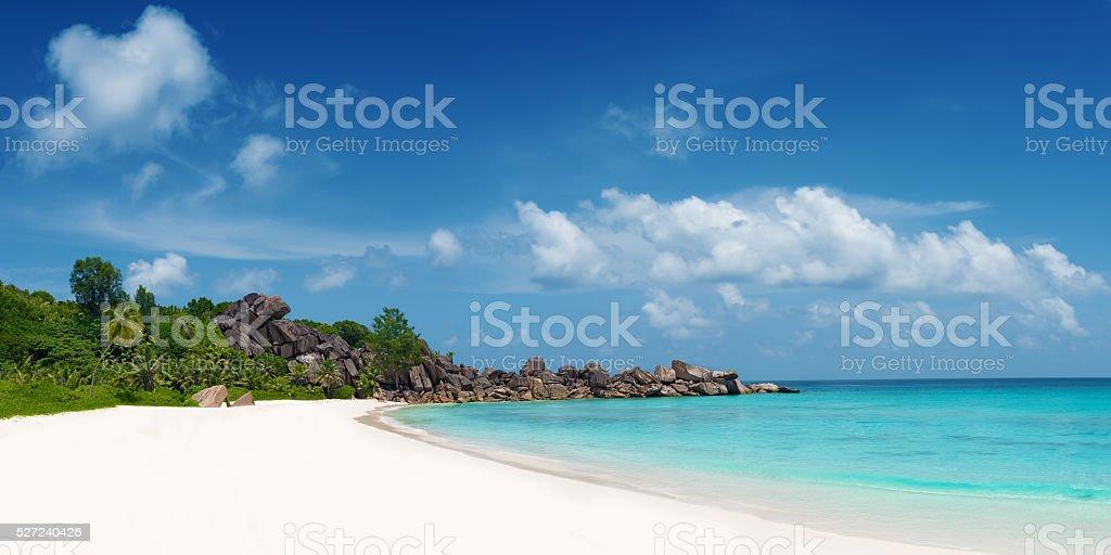 panoramic view of grand anse beach la digue island seychelles royalty-free stock photo