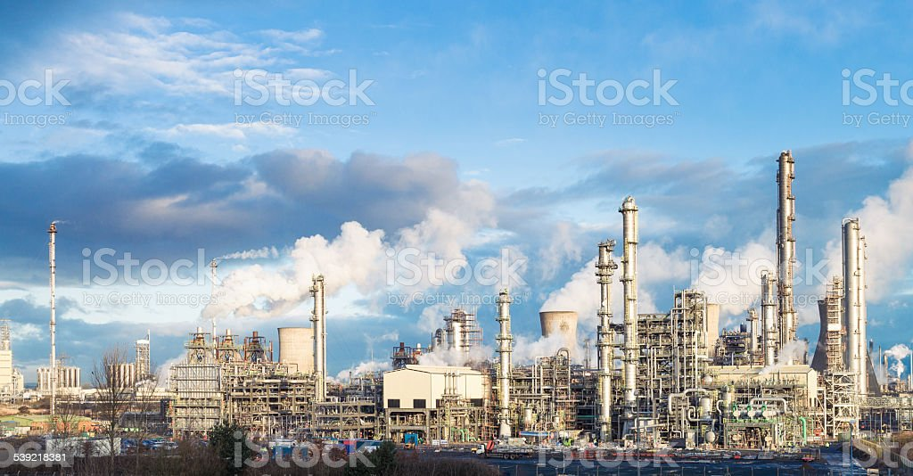 Panoramic view of Grangemouth petrochemical plant stock photo