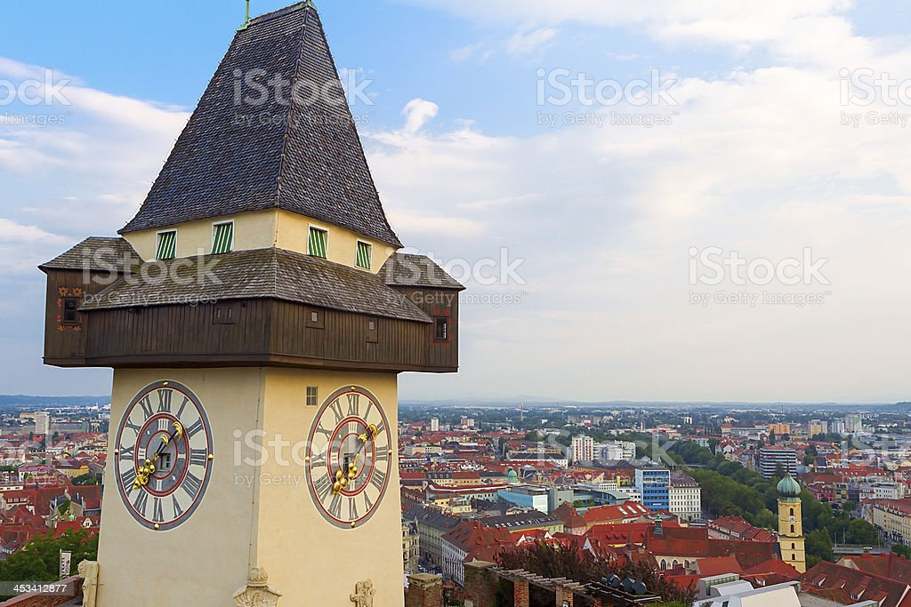 Panoramic view of Graz stock photo