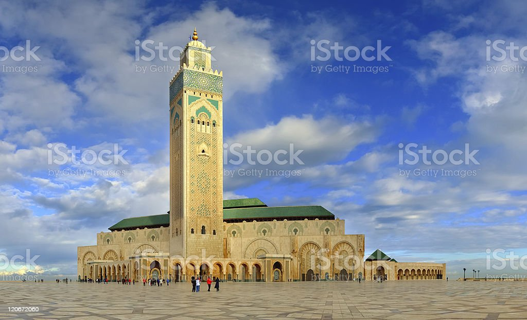 Panoramic view of great Mosque of Hassan II, Casablanca - Morocco stock photo