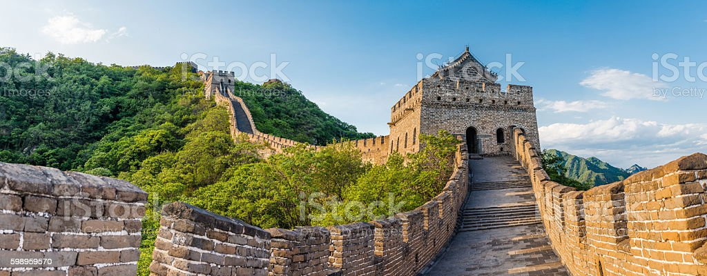 panoramic view of Great Wall of China stock photo