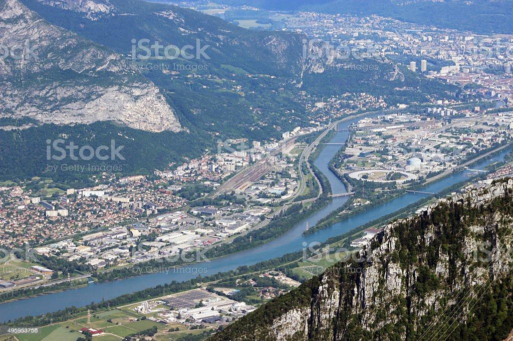 Panoramic View of Grenoble stock photo